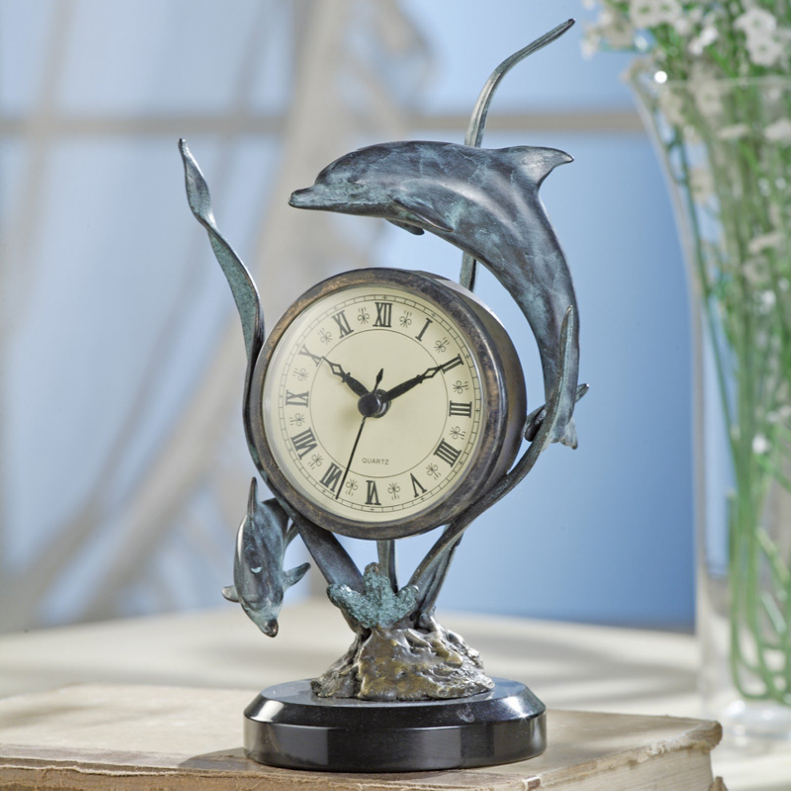 San Pacific International Dolphin Table Clock