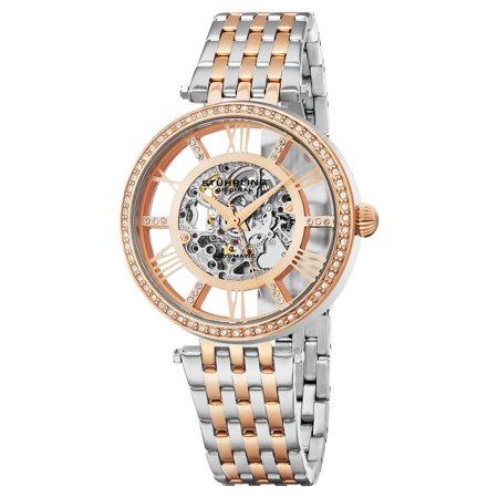 Stuhrling Original  Women's Automatic Skeleton Delphi Swarovski Element Crystal Two-Tone Link Bracelet Watch