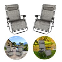 GLiving Zero Gravity Lounge Chair Widened Folding Chair Leisure Chair for Patio, Pool w/Cup Holders Gray