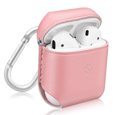 Fintie AirPods Genuine Leather Case - Protective Earbud Cover Skin with Carabiner, Pink (Protective Leather Skin)