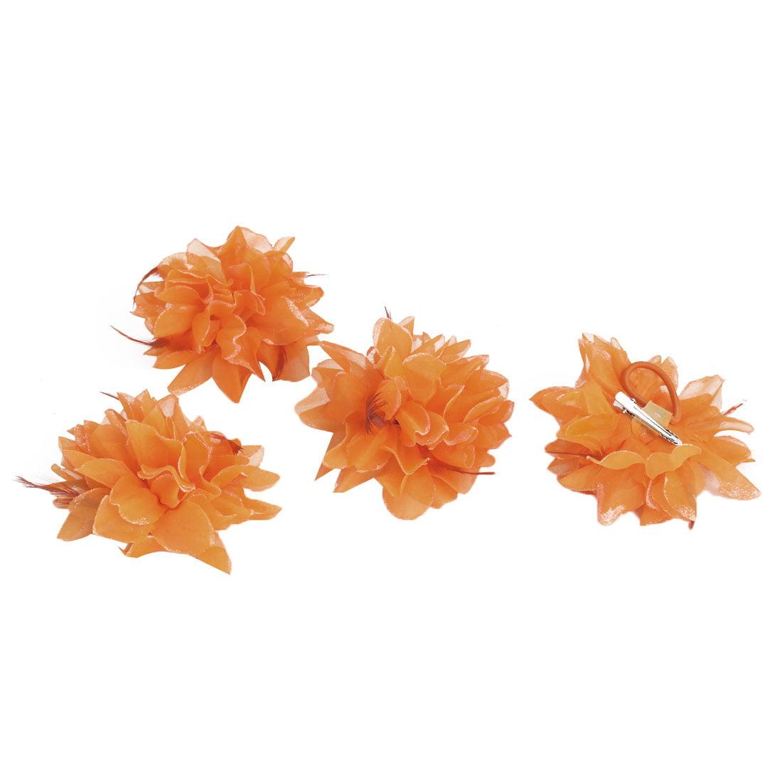 Wedding Fascinator Bridesmaid Hand Hair Decoration Wrist Flower Orange 4 Pcs