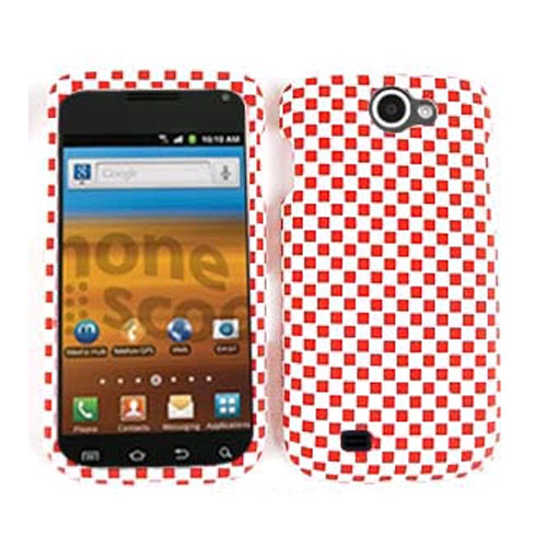 Cell Armor Snap-On Case for Samsung Exhibit II T679 - 3D Embossed,Red/White Checkers