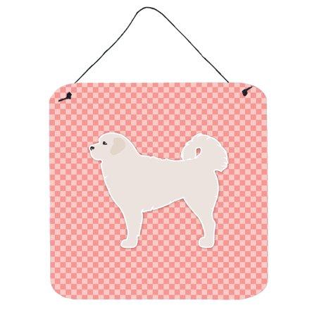 Polish Tatra Sheepdog Checkerboard Pink Wall or Door Hanging Prints BB3627DS66