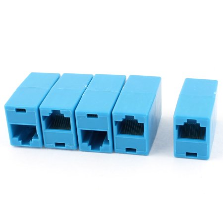 5Pcs RJ45 8P8C F/F Network Cable Connector Extender Coupler Joiner Blue - image 1 of 1