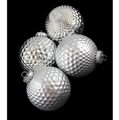 "4ct Silver Prism Textured Shatterproof Christmas Ball Ornaments 2.75"" (70mm)"