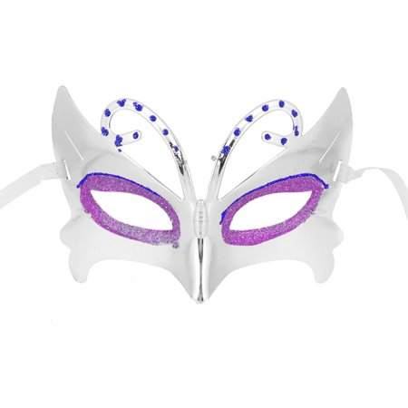 Unique Bargains Blue Rhinestone Inlaided Halloween Masquerade Plastic Face Mask Silver - Unique Halloween Masks