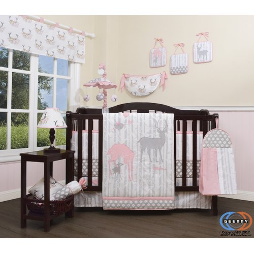 Harriet Bee Three Lakes Baby Girl Deer Family Nursery 13 Piece Crib Bedding Set