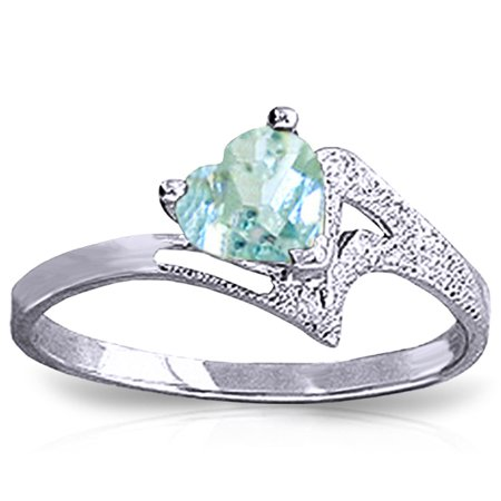 ALARRI 0.95 Carat 14K Solid White Gold White Dove Aquamarine Ring With Ring Size 5.