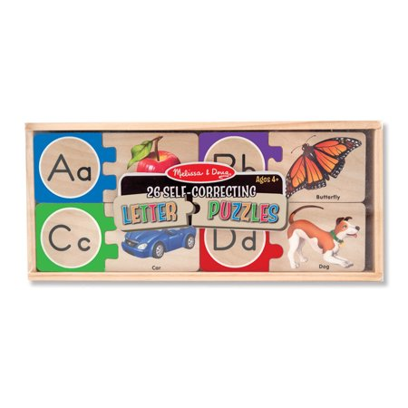 - Melissa & Doug Self-Correcting Alphabet Wooden Puzzles With Storage Box (52 pcs)