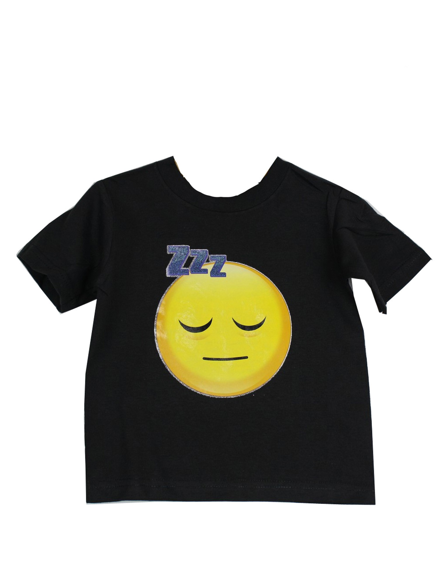 Unisex Black Yellow Sleeping Face Emoji Print Cotton Trendy T-Shirt