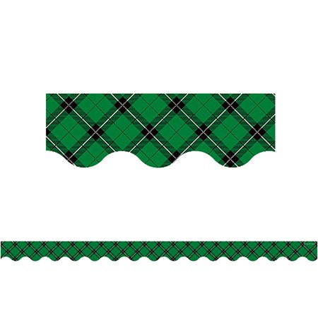 GREEN PLAID SCALLOPED BORDER - Border Green Scalloped