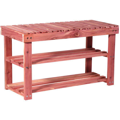 household essentials 2tier cedar shoe rack and seat bench