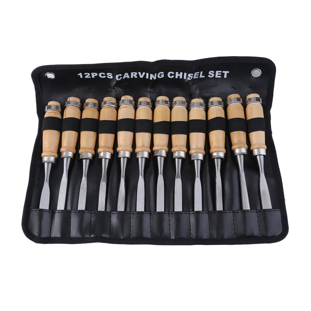 12 Piece Professional Wood Carving Tool Hand Chisel Cutter Set Hardened Steel Woodworking Scorper Arts Crafts DIY Tool