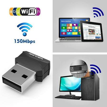 Wavlink Wireless N 150Mbps USB Wi-Fi Adapter Mini Size Design 802.11b/g/n Supports Windows XP / Vista / 7 / 8 / 8.1/10, MAC