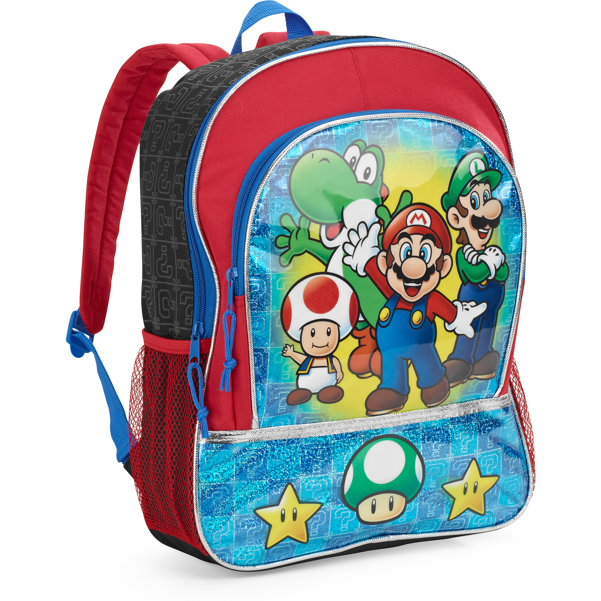 mario brothers 16 backpack with zip front pocket red walmart