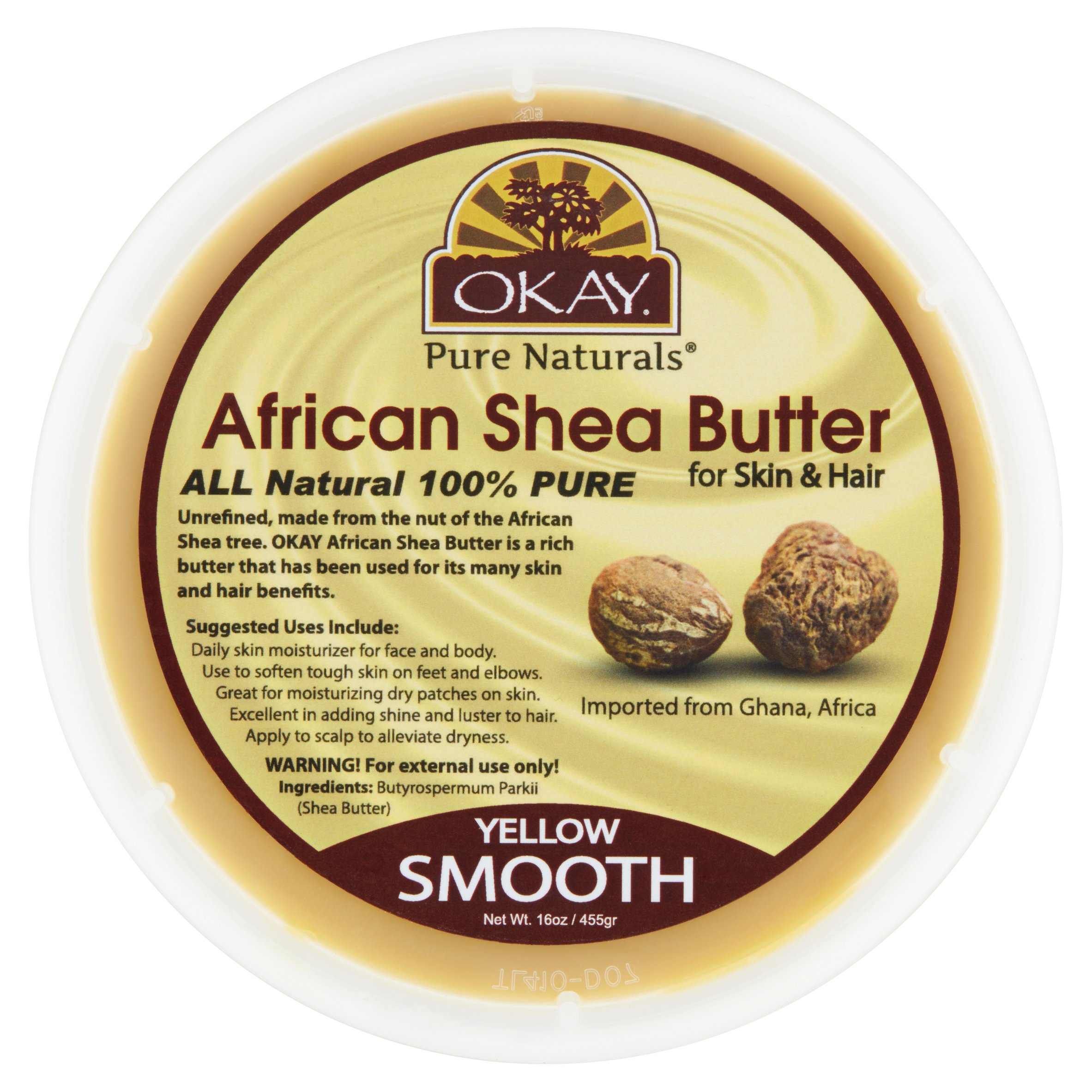 Okay Pure Naturals Yellow Smooth African Shea Butter, 16 Oz by Okay