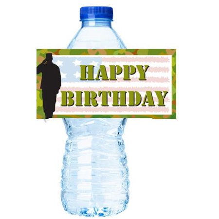 Miltary Army Soldier Party Decorations 15ct Water Bottle Sticker Labels](Army Party)