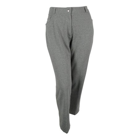 Women's 5 Pocket Relaxed Fit Ponte Trouser Pants (Heather Grey, 2X)