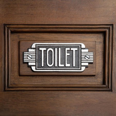 Design Toscano Streamlined Art Deco Cast Iron Toilet Door - Art Deco Door