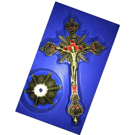 - Holy Land Market Altar Table Church Standing Crucifix - Brass Tone with 12 Red Stones from Jerusalem (10 Inches)