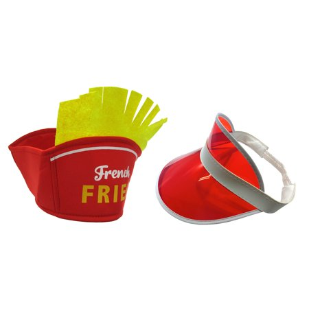 Clear Plastic Visor Hat And French Fries Hat Food Vendor Costume Accessories Plastic Miniature Hats