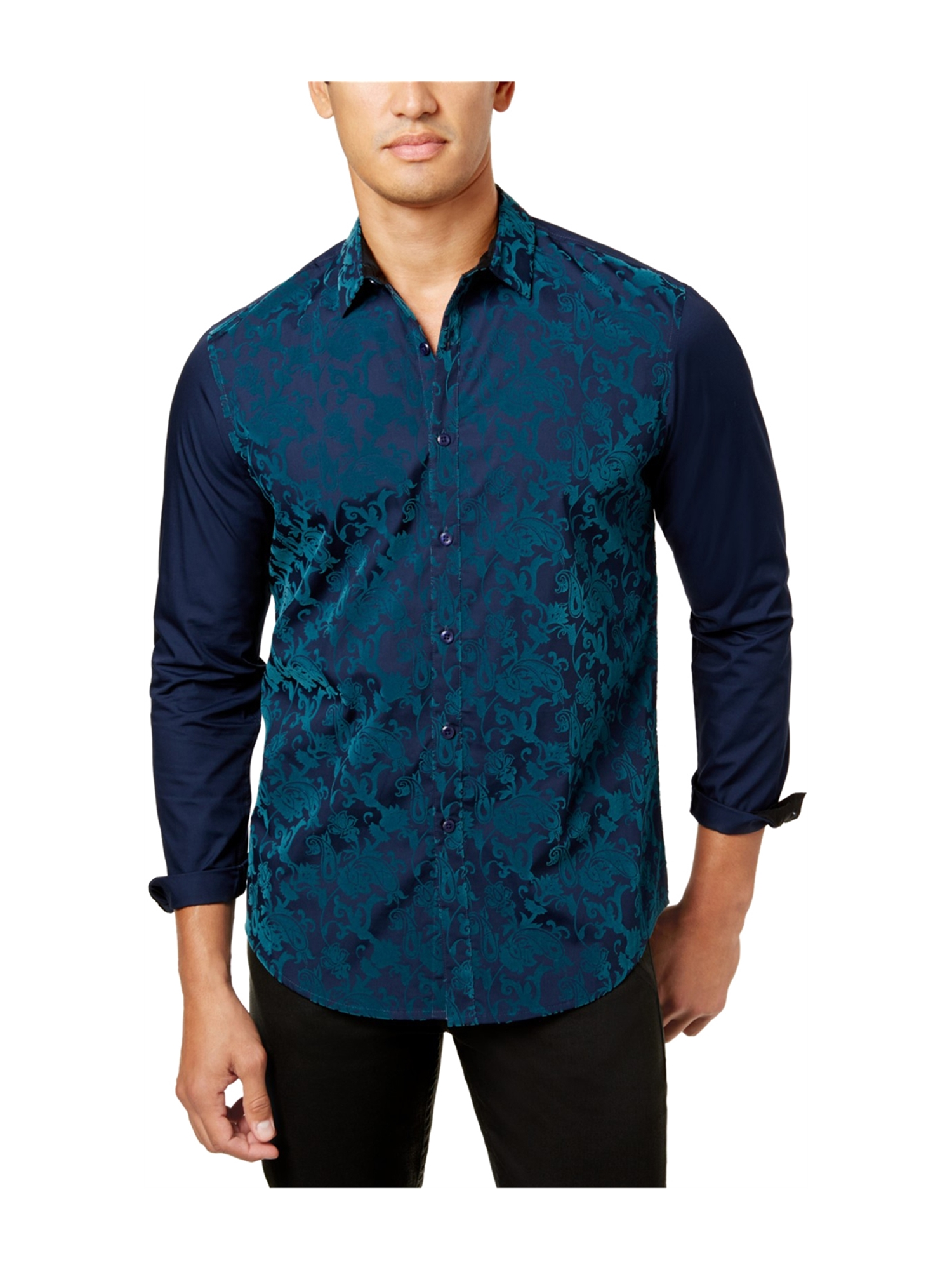 I-N-C Mens Flocked Paisley Button Up Shirt navycombo 2XL
