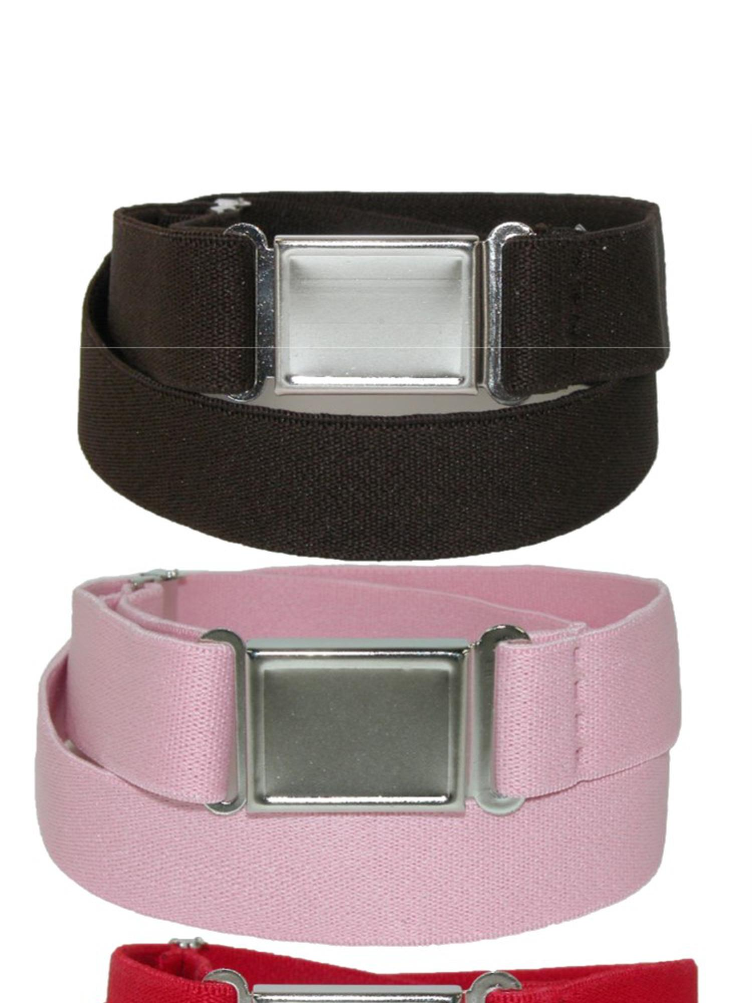 Kid's Elastic Stretch Belt with Magnetic Buckle (Pack of 3 Colors), Size: one size