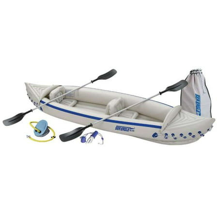 SEA EAGLE 370 Deluxe 3 Person Inflatable Kayak Canoe w/ Paddles & Repair
