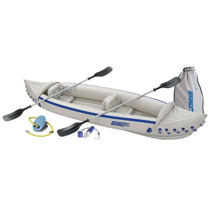 Sea Eagle 370 Deluxe 2 Person Inflatable Portable Sport Kayak Canoe w/ Paddles