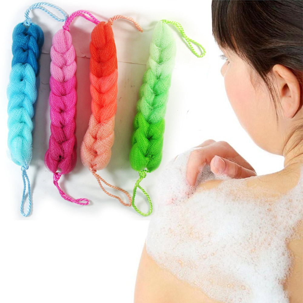 6 Mesh Sponge Braided Rope Back Scrubber Soft Puff Bath Shower Exfoliating Brush