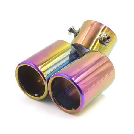 2 4  Dia Inlet Double Outlet Exhaust Muffler Tip Silencer Pipe For Car Vehicle