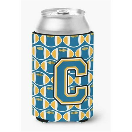 Letter C Football Blue & Gold Can or Bottle Hugger, 0.25 x 4 x 5.5 in. - image 1 de 1