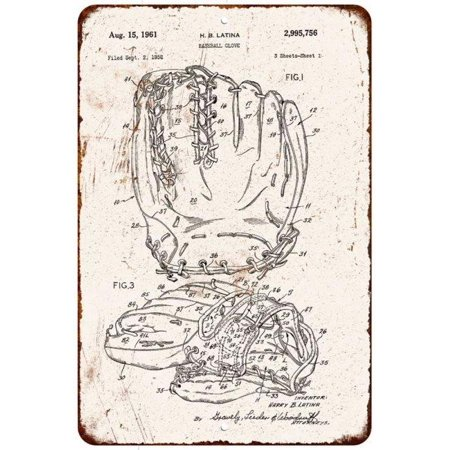 1961 Baseball Glove Vintage Look Reproduction 8x12 Metal Sign 8120984