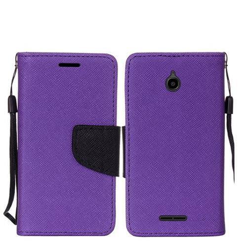 Phone Case for Walmart Family Mobile Alcatel PIXI 4 (4.5') Prepaid Smartphone Premium Wallet Pouch Case PU Leather Stand (Purple)