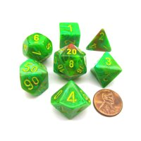 Chessex Polyhedral 7-Die Vortex Dice Set - Slime with Yellow Numbers #27515