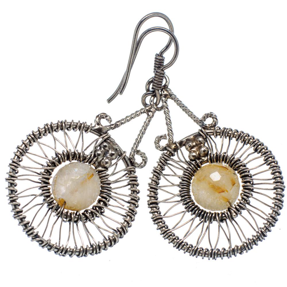 "Ana Silver Co Rutilated Quartz 925 Sterling Silver Earrings 1 3/4"" - Handmade Jewelry EARR337191"
