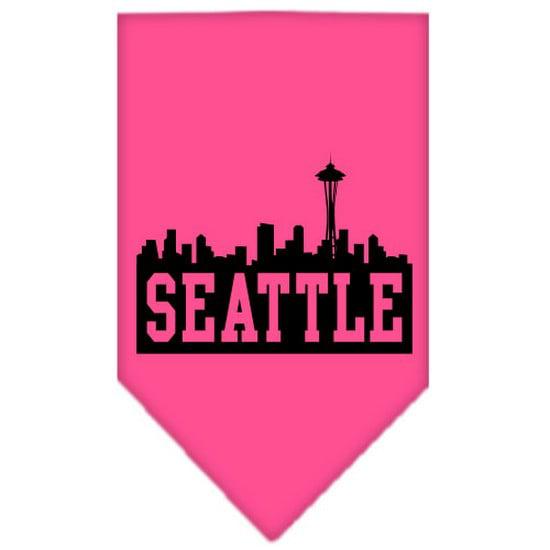 Mirage 66-83 LGBPK Seattle Skyline Screen Print Pet Bandana Bright Pink Large