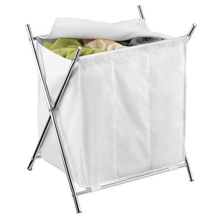 Folding Hamper w/Cover, 3-Compartment