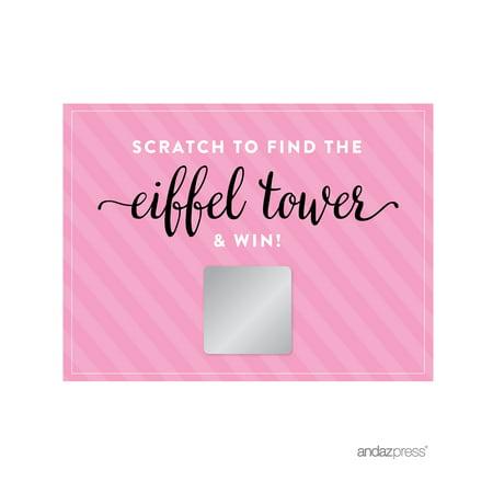 Scratch Off Game Cards  Paris Bonjour Bebe Girl Baby Shower Game, 30-Pack (Baby Shower Scratch Off)