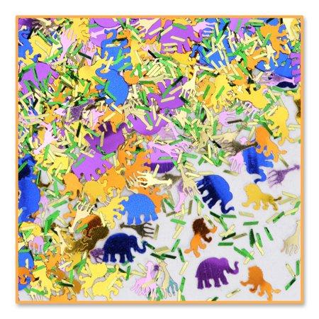 Pack of 6 Metallic Multi-Colored Jungle Safari Celebration Confetti Bags 0.5 oz.