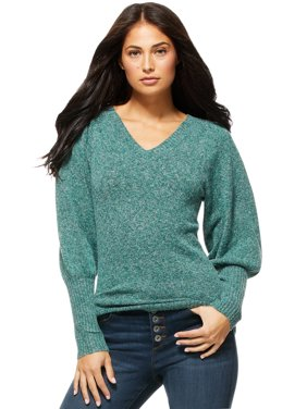 Sofia Jeans by Sofia Vergara Women's V-Neck Sweater with Blouson Sleeves