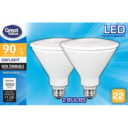 Great Value LED Light Bulb, 9W (90W Equivalent) PAR38 Floodlights Lamp E26 Medium Base, Non-Dimmable, Daylight, (9w Torpedo Lamp)
