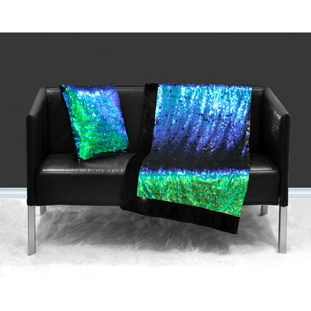 Sequin Sparkle Teal Reverse to Black Throw Blanket, 1 Each ()