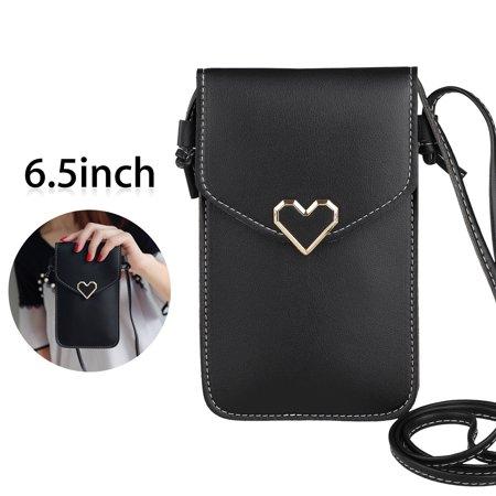 Cross-body Heart Phone Shoulder Bag Pouch Case Belt Handbag Purse Wallet
