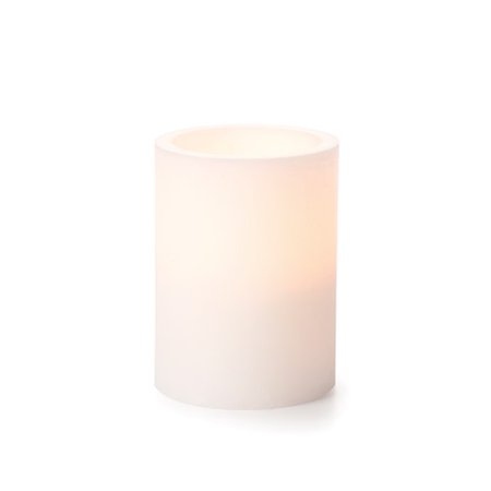 Battery Pillar Candle with Timer - White - 4 inches (Battery Pillar Candles)