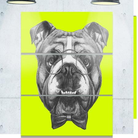 DESIGN ART Designart 'English Bulldog with Bow Tie' Contemporary Animal Art Metal Wall Art (Contemporary Design Bow)