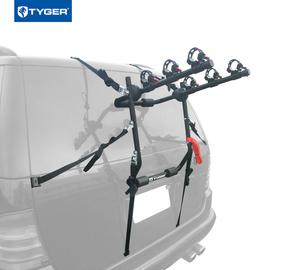 Tyger Auto TG-RK3B203S Deluxe 3-Bike Trunk Mount Bicycle Rack. (Fits most Sedans Hatchbacks Minivans and SUVs.) by TYGER