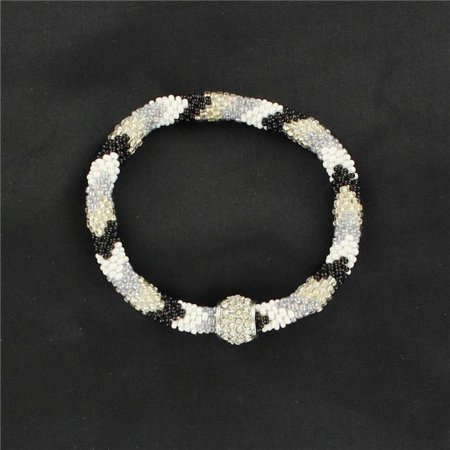 M&F Western 29560 Seed Bead Bracelet with Larger Bead, Black & White Seed Bead Bracelet