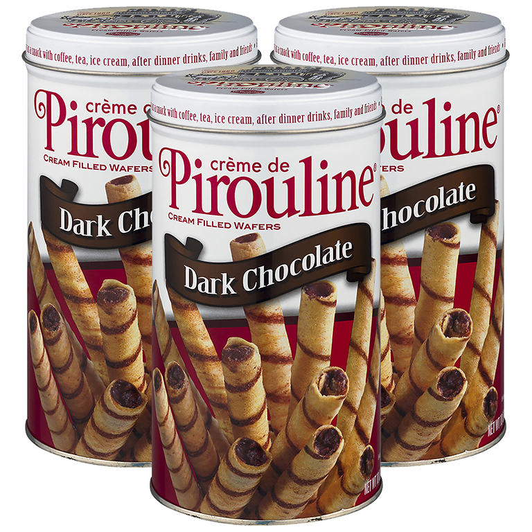 (3 Pack) Creme de Pirouline Dark Chocolate Rolled Wafer Cookies, 10 oz