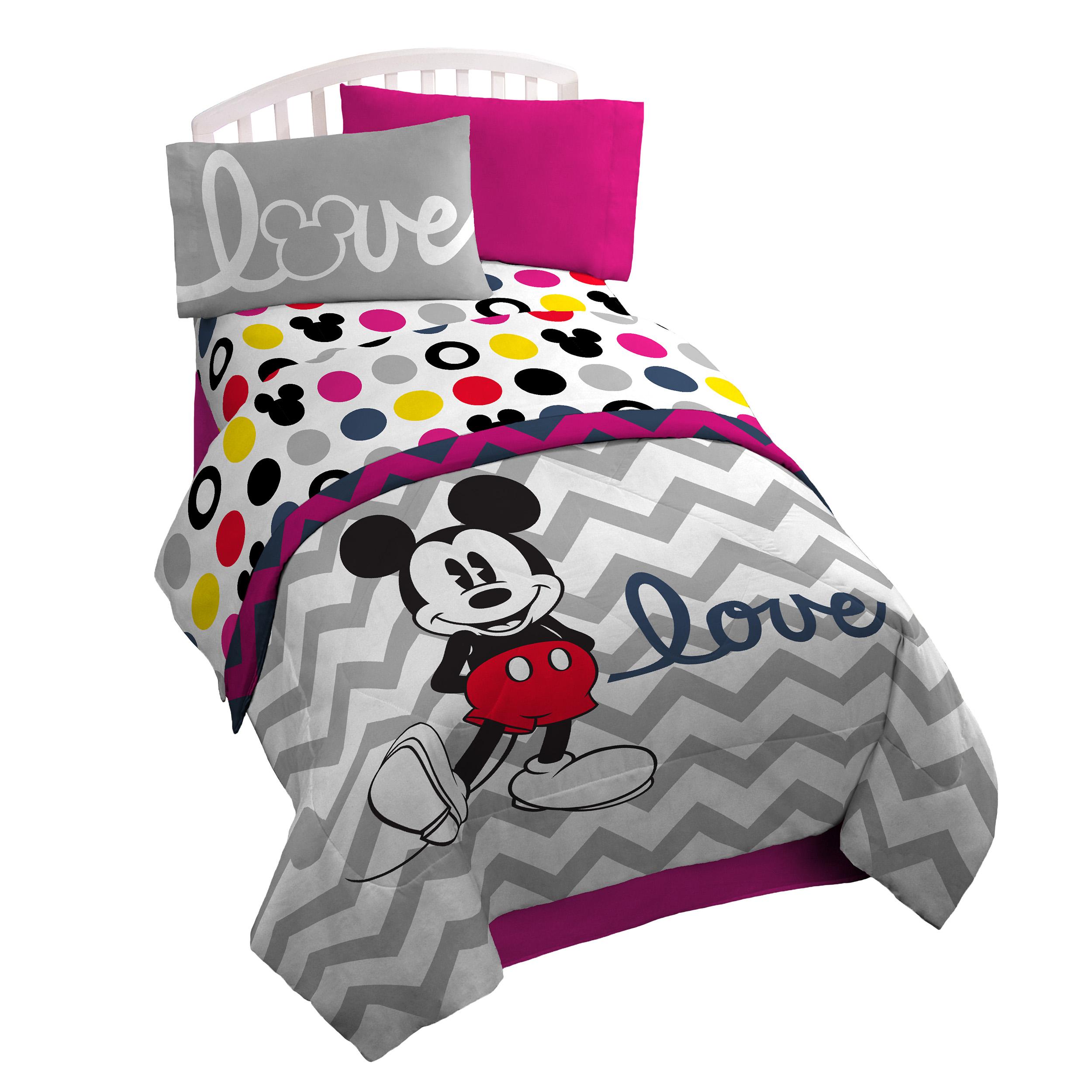 "Disney Mickey Chevron & Dots 39"" x 75"" Twin Sheet Set, Pink/Yellow/Black"